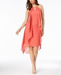 Thalia Sodi Chain Neck High Low Halter Dress Created For Macy's Deep Sea Coral