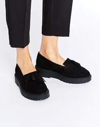 New Look Wide Fit Suedette Chunky Loafer Shoe Black