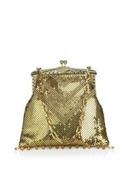 Whiting And Davis Limited Edition Deco Crystal Mesh Fringe Clutch Gold
