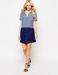 Oasis Button Through Denim Mini Skirt