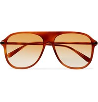 Brioni Aviator Style Acetate Sunglasses Light Brown