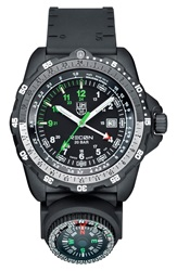 Luminox 'Land Recon Nav Spc' Removable Compass Gmt Watch 46Mm Black
