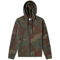 Off White Stencil Diagonals Zip Hoody Green