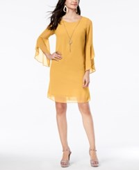 Thalia Sodi Flared Sleeve Necklace Dress Created For Macy's Bumble Bee