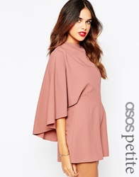 Asos Petite Playsuit With Cape Sleeve Blush