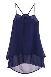 Quiz Navy Chiffon Double Layer Strap Top