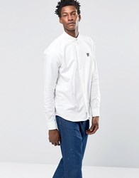 Wood Wood Timothy Logo Oxford Shirt Buttondown In Regular Fit Bright White