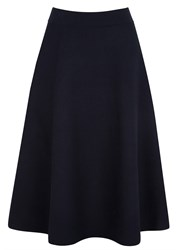 Demy Lee Navy Flared Jersey Midi Skirt