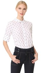 Derek Lam 10 Crosby Tie Back Shirt With Button Detail Soft White