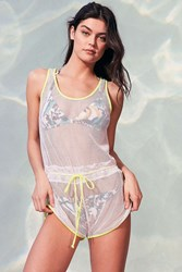 Out From Under Glow Fishnet Romper White