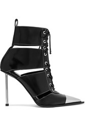 Alexander Mcqueen Metal Trimmed Cutout Leather Ankle Boots Black
