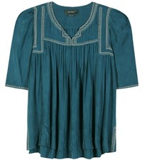 Isabel Marant Livia Embroidered Silk Blouse Turquoise