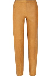 Halston Tapered Leather Pants Brown