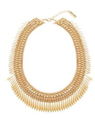 Steve Madden Snake Bead And Box Chain Diamond Shape Disc Station Necklace Gold