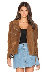 Understated Leather X Revolve Western Suede Moto Jacket Tan