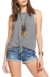 Chaser Women's Tie Front Muscle Tank Streaky Grey