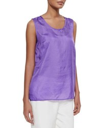 Caroline Rose Tissue Silk Tank Purple
