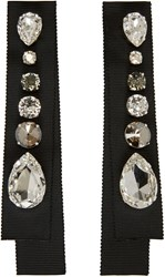 Lanvin Black Crystal And Grosgrain Earrings