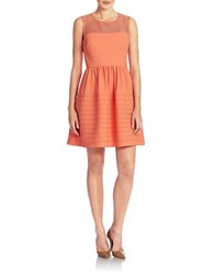 Betsey Johnson Illusion Neckline Fit And Flare Dress Tangerine