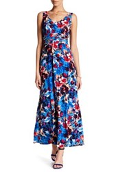 London Times Double V Neck Ruched Waist Maxi Dress Petite Multi