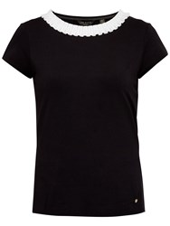 Ted Baker Sillia Frill Neck Fitted T Shirt Black