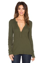 Michael Stars Thermal Long Sleeve Henley Tunic Green