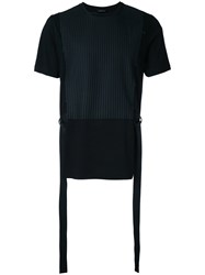 Consistence Striped Panel T Shirt Men Cotton Wool 48 Black