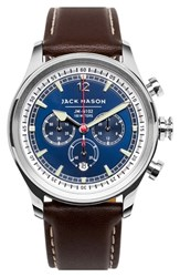 Men's Jack Mason Brand Nautical Chronograph Leather Strap Watch 42Mm
