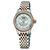 Oris 01 594 7680 4361 07 8 14 32 Women's Aviation Pointer Date Bracelet Strap Watch Silver Rose Gold