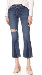 Free People Colorblocked Crop Flare Jeans Light Denim