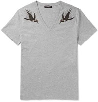 Alexander Mcqueen Printed Cotton Jersey T Shirt Gray