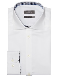 John Lewis Satin Dobby Trim Tailored Shirt White