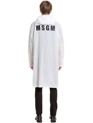 Msgm Logo Printed Paper Effect Long Jacket