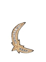 Huda Al Nuaimi Crystal Embellished Moon And Star Brooch Gold