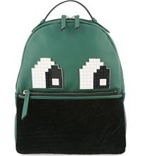 Les Petits Joueurs Mick Eyes Lego Leather Backpack Green
