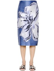 Rochas Flower Printed Duchesse Pencil Skirt