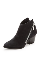 Belle By Sigerson Morrison Lara Suede Zip Booties Dark Denim