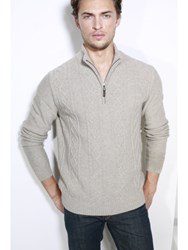 Johnstons Of Elgin Cashmere Aran Zip Neck Sweater Neutral