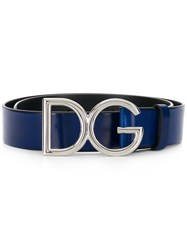 Dolce And Gabbana Logo Buckle Belt Blue