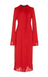 Paule Ka Knitted Fringe Coat Red