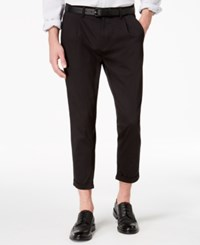 Kenneth Cole New York Men's Pleated Cropped Chinos Black