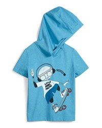 Little Marc Jacobs Hooded Mr. Marc Graphic Tee Blue