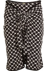 Dodo Bar Or Tasseled Printed Silk Crepe De Chine Wrap Mini Skirt Black