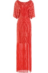 Jenny Packham Bead And Sequin Embellished Floor Length Silk Gown Red