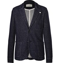 Oliver Spencer Loungewear Blue Melange Wool And Cotton Blend Blazer Navy