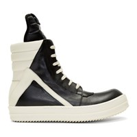 Rick Owens Black And Off White Geobasket High Top Sneakers