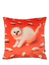 Seletti Kitten Printed Pillow Multicolor