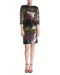 Milly Kimberly Ombre Sequin Cowl Back Mini Cocktail Dress Multi