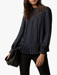 Ted Baker Shilli Animal Lace Swing Top Navy