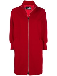 Love Moschino Classic Single Breasted Coat Red